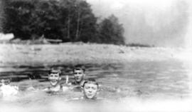 George Knowling, Myself [W.O. Banfield], Thorne Aconley [swimming at] Orlomah Beach