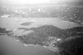 Aerial view of Stanley Park, Brockton Oval, Coal Harbour and city centre of Vancouver
