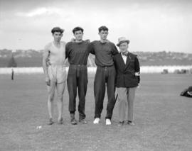 Caledonian Games [three athletes with an unidentified man]