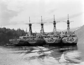 [Four warships in Coal Harbour]