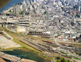 Aerial view of Downtown Vancouver, West End and Yaletown, with Granville Street Bridge and Burrar...
