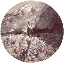 [Women at base of glacier]