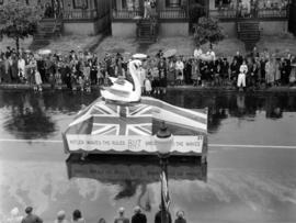 Hitler Waves the Rules But Britannia Rules the Waves parade float