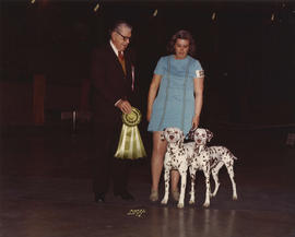 Best Brace in Show award being presented at 1974 P.N.E. All-Breed Dog Show [Dalmatians]