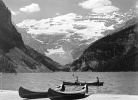 [View of] Lake Louise [and Rocky Mountains]
