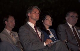 Unidentified man, Gordon Campbell, Kinuko Laskey and unidentified man at the lighting of the Peac...