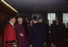 Visit [of] Bishop of Canterbury, receiving line [at City Hall with Mayor Rathie and Mrs. Ramsay]