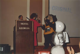 Linda Graham, Tillicum and Expo Ernie at Wake Up Awards