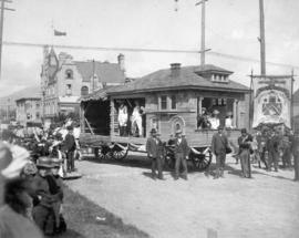 [The Amalgamated Society of Carpenters and Joiners with their Labour Day parade float at Seymour ...