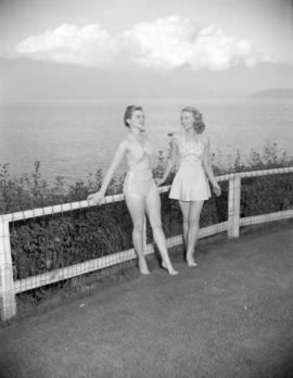 [Women modeling bathing suits on the Royal Vancouver Yacht Club grounds]