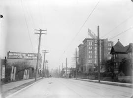 [View of Pender Street looking west, showing Elysium Hotel and Hoffmeister Bros. garage]