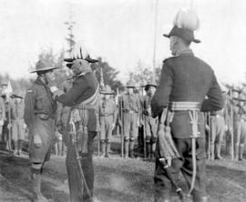 [The Duke of Connaught at the Hastings Park, decorates a boy scout for life saving]