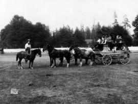 Four-horse team pulling a stagecoach