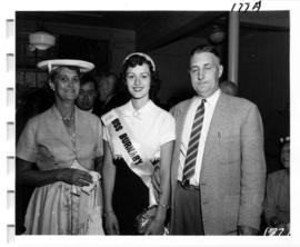 Miss Burnaby with unidentified dignitaries at tea party