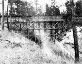 Filling Four Mile Creek trestle, mile 127.2 : The trestle empty from the left