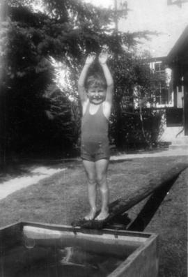 John Banfield in diving pose at swimming tank