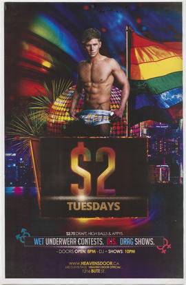 $2 Tuesdays : wet underwear contests, DJs, drag shows : [Heaven's Door] 1216 Bute Street