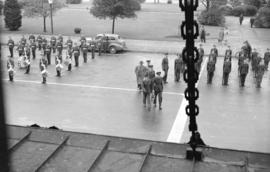 [Air cadets being reviewed in front of the C.N.R. Station]