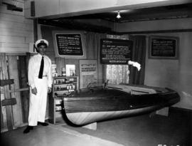 Western Marine Mfgs. Display of boat, wood, and Elmer's glue products