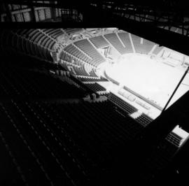 View of seats from rafters in Pacific Coliseum