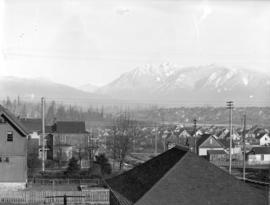 [View of Kitsilano area, West End and North Shore mountains, from Seventh Avenue and Pine Street]