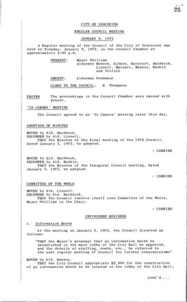 Council Meeting Minutes : Jan. 9, 1973