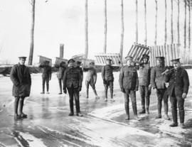 [A work party of soldiers on a frozen canal on the Western Front]