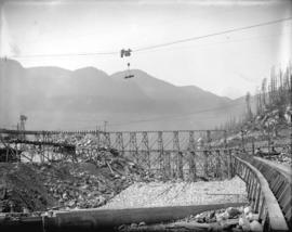 [Partially constructed Coquitlam Dam, showing floor of spillway cut]