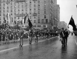 Pipe band in 1950 P.N.E. Opening Day Parade