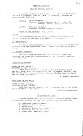 Council Meeting Minutes : June 11, 1974