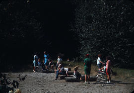 Group of children at shore at Camp Capilano