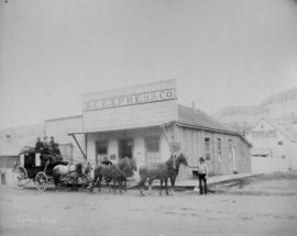 Cariboo stage [B.C. Express Co., headquarters with express wagon outside]