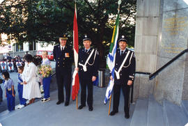 Honour Guard, Vancouver Department Colour Party holding flags on City Hall steps