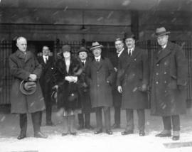 [Mayor L.D. Taylor greets state visitors at train station]