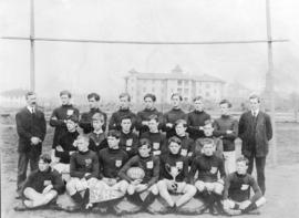 [Group portrait of Vancouver High School football team]