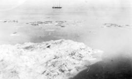 "[View of Amundsen's supply ship ""Holmes"" off Wainwright Island]"