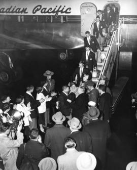[Canadian Olympic Team members are welcomed as they deplane from a Canadian Pacific flight from A...