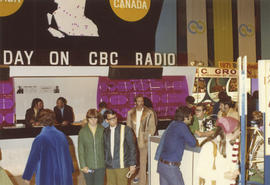 "CBC Radio booth at 1971 P.N.E. ""Centennial City - Acres of Food"" exhibit, P.N.E. Forum"