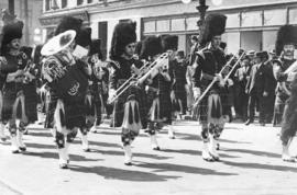 [72nd Regiment, Seaforth Highlanders march to Recreation Park for the memorial service for King E...