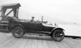 [Donald McRae driving his jitney on Pier A]