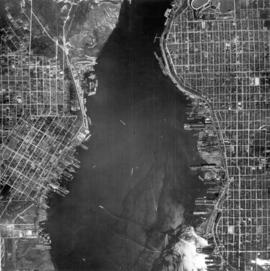 [Aerial view of Burrard Inlet, Vancouver waterfront and North Vancouver waterfront]