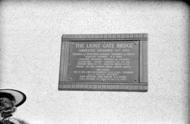 [Plaque commemorating the completion of the Lions Gate Bridge on November 14, 1938]