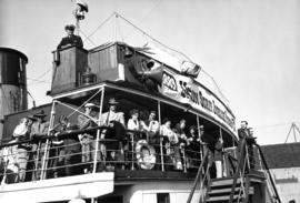 "[Dockside scene as Union employees and families board S.S. ""Lady Alexandra"" for Union S..."