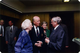 Roméo LeBlanc speaking with Lynne Kennedy and two unidentified individuals