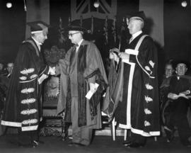 Honorary degree presented to Premier 'Joey' Smallwood by Sherwood Lett and Norman MacKenzie