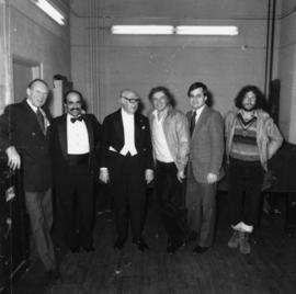 Hugh Pickett, unidentified man, Andrés Segovia, Marcel Marceau, Dan Shadle, and Marceau's son