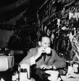 Hugh Pickett having coffee