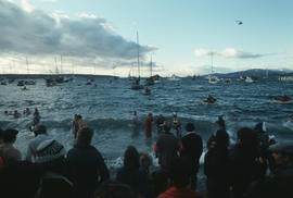 Crowd watching swimmers in water during Polar Bear Swim