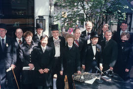 Group portrait of actors from reenactment of Vancouver's first City Council meeting at 12 Water S...