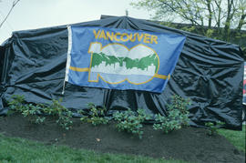 Vancouver AM sign covered up before unveiling at Oak and 71st Street